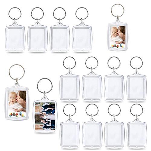 Liwein Acryl Schlüsselanhänger Foto,30 StückTransparent Bilderrahmen Schlüsselring Leer Bild Schlüsselbund Kunststoff Personalisierte Bilderrahmen für Frauen Männer