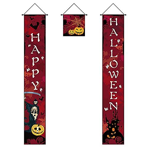 Feliz Halloween Banner Banner de Fiesta de Halloween Conjunto de pancartas de Halloween Decoración de Puerta de Halloween Decoración de Cortina de Halloween Pantalla de Halloween Letrero Colgante