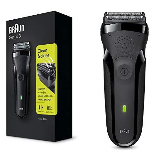 Braun Series 3 Elektrorasierer, 3 flexible Klingen, wiederaufladbarer und kabelloser elektrischer Rasierer, 30 Minuten Akkulaufzeit, abwaschbar, schwarz