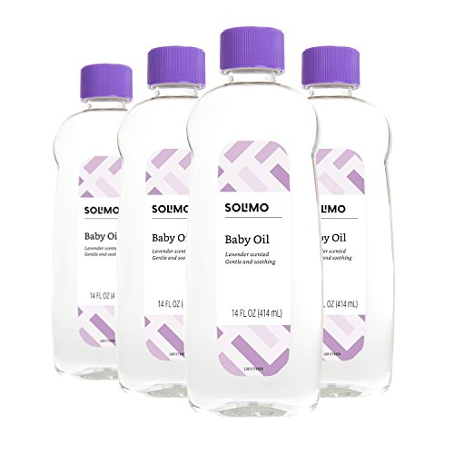 Amazon Brand - Solimo Baby Oil, Lavender Scented, 14 Fluid Ounce (Pack of 4)