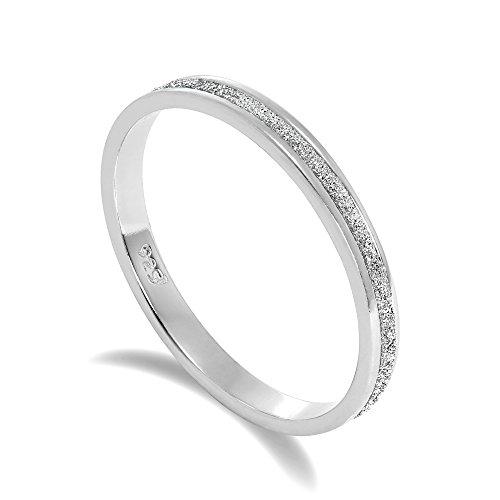 Gefrostet Sterlingsilber Voll Ewigkeit Ring Größe 53 (48-65 Erhältlich)