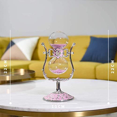 CHUTD Cristal Transparent sablier minuterie Horloge de Sable Artisanat décoration en Verre, 15 Minutes / 30 Minutes, Blanc-S (Couleur: Rose, Taille: Petit)