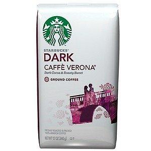 Starbucks Dark Decaf Verona Ground Coffee 12 Ounce Bag