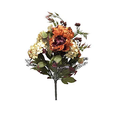 "Vickerman Everyday Artificial Dark Orange and Cream Mixed Peony and Hydrangea Bush 21"" Long - Premium Faux Floral Home Decor - Maintenance Free Flowers"
