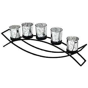 Seraphic Iron Arch Centerpiece Candle Holder Black Silver Votive 5 Cups