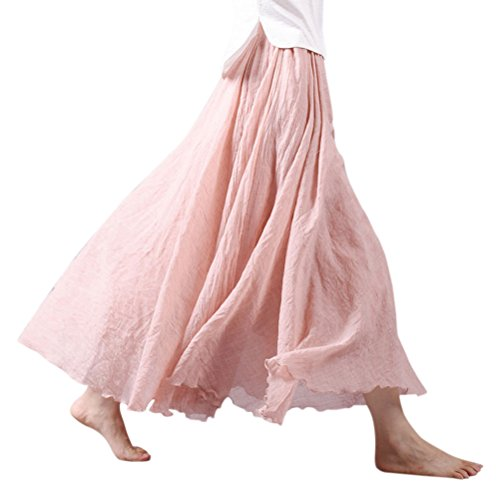 Nlife Frauen böhmische Polyester Double Layer elastische Langer RockMaxi, 1-pale Rose, 95CM
