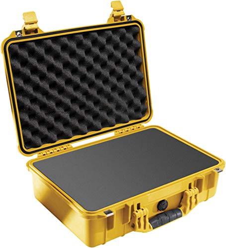 PELI 1500 Valigia antiurto per telecamera, Drone e apparecchiature elettroniche, IP67 Impermeabile, Capacità di 19L, Prodotto in Germania, Con Inserto in schiuma personalizzabile, Colore Giallo