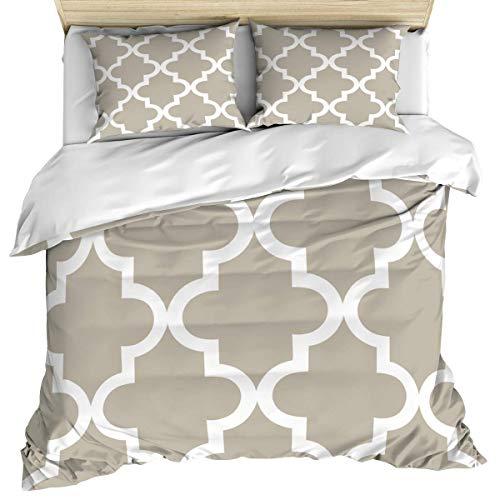 Ropa de cama de lujo, funda nórdica, funda nórdica a cuadros y fundas de almohada, juego de cama de 3 piezas, enrejado marroquí, juego de funda nórdica...