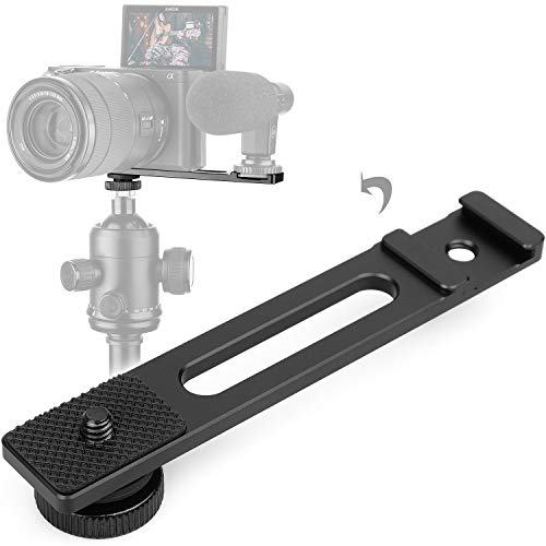 ChromLives Cold Shoe Bracket Extension Bar, Hot Shoe Extension, Microphone Mount with 1/4 Tripod Screw Compatible with Mirrorless Camera Vlogging Sony A6400 6300 6500 6000 Zhiyun 4 DJI Osmo Pocket