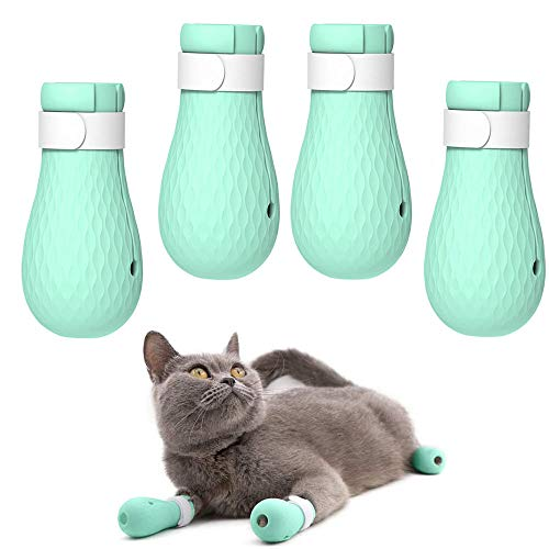 ASOCEA 4 PCS Anti-Scratch Cat Foot Shoes Silicone Pet Grooming Scratching Restraint Booties Kitten Cat Claws Cover for Home Bathing, Shaving Checking Treatment