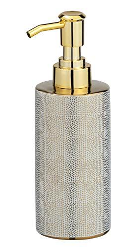 WENKO Distributore di sapone Nuria Oro/Bianco - Dispenser sapone liquido, dispenser detersivo piatti Capacità: 0.3 l, Ceramica, 7 x 18 x 6 cm, Dorato