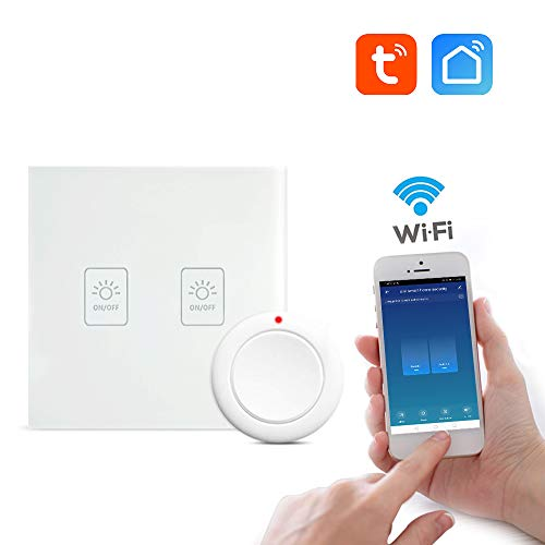 aixi-SHS Wi-Fi 433Mhz Touch Panel Lichtschalter Smart Button One Key kontrolliert alle - Amazon Alexa/Google Home-Smart Life APP (2 Gang Schalter)