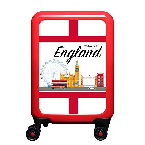 made2trade - Trolley Rigido da Viaggio, con Varie Stampe, 32 Litri, Colore: Rosso, Inghilterra