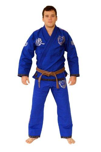 OKAMI Fightgear Kimono BJJ Competition Gi Kanji - Traje Completo de Artes Marciales para Mujer (10 onzas (28 g)), Color Azul, Talla DE: ca. 170 cm