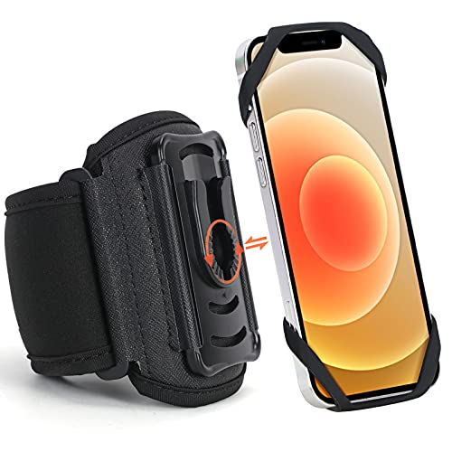FYY Sportarmband für iphone 12/12 Pro/Max/Mini/11/11 Pro/Max/XR/Xs/X/6/7/8,Handyarmband für Samsung/iphone,Laufarmband für 4.5-7\'\' Smartphone,[360° drehbar] Laufarmband Joggen,Sport Handyhülle Schwarz