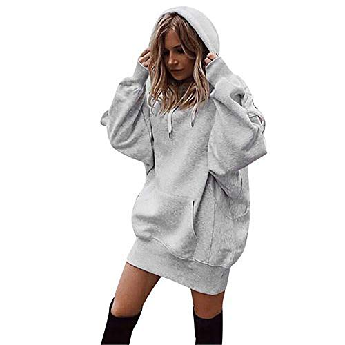MIAOJIE Women's Solid Color Hoodies Sweatshirts Casual Hoodie Long Sleeve Warm Stylish Pullover Long Tops with Drawstring Oversize Pockets,Gray,XL