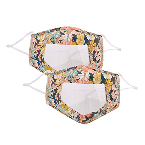 2 Pack Unisex Women Men Floral Printing Cotton Mouth Cover with Clear Window Visible Expression Reusable Washable for Deaf and Hard of Hearing People