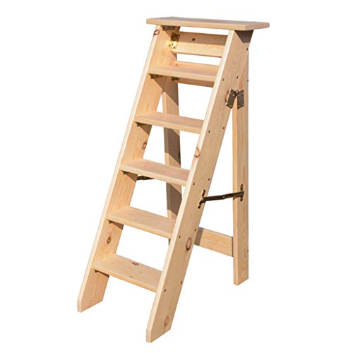 Escaleras de Madera de 6 peldaños Plegables, escaleras de peldaño Resistentes Taburete...