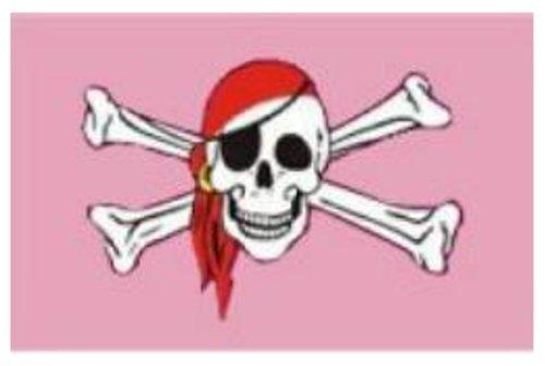 5ft X 3ft Piraat Schedel met Bandana & Roze Vlag