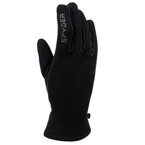 Spyder Leather Palm Black Gloves (Medium)