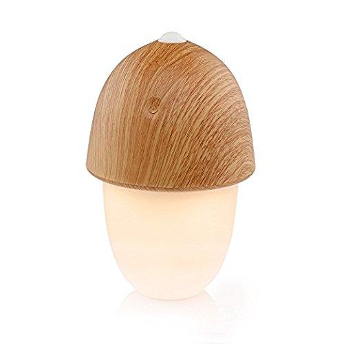 Lámpara LED de Ambiente Decorativa VADIV Ajuste Táctil Lateral de Intensidad y Tono Recargable USB Veteado de Madera Diseño en Forma de Seta Ideal para Dormitorio Comedor Entradas BL02