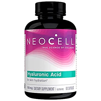NeoCell? Hyaluronic Acid, Daily Hydration for Skin Hydration & Suppleness, 100mg ? 60 Capsules (Package May Vary)