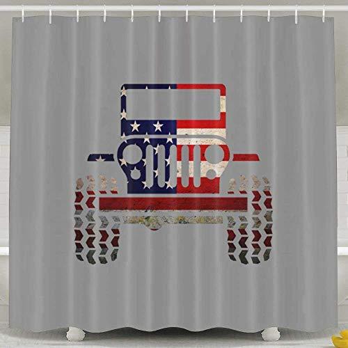 CHATAE Duschvorhang mit Haken, Jeep-Flagge, wasserabweisend, Badezimmer-Dekoration
