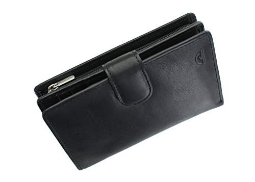 Tony Perotti Full Grain Leather Purse With Tab Closure RFID Protected 10091 Black