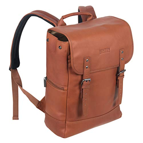 """Kenneth Cole Reaction Colombian Leather Single Compartment Flapover 14.1"""" Laptop Backpack (RFID), Cognac"""