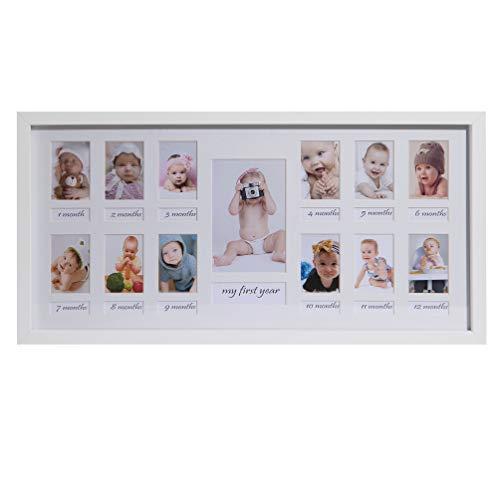 BD ART 23 x 50 cm Baby Bilderrahmen Mein erstes Jahr, Bildergalerie, Fotogalerie mit Passepartout und 12 Foto-Ausschnitten für Fotos 5 x 7 cm und 1 Foto 9 x 13 cm, Weiß