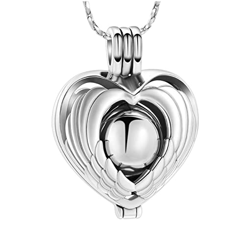 hhxxb Collar Urna para Cenizas Joyería De Cremación Collares con Colgante De Urna para Cenizas Alas De Ángel Huecas con Corazón Mini Urnas Recuerdo Joyería Conmemorativa para Cenizas