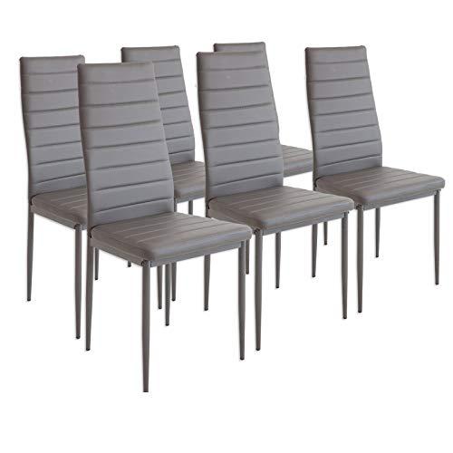 Preisvergleich Produktbild Albatros Esszimmerstühle MILANO,  6er-Set,  Grau,  SGS geprüft