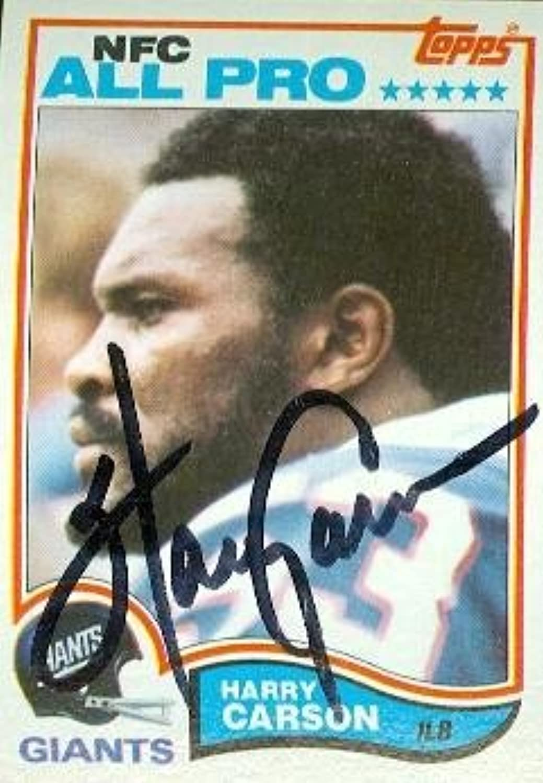Harry Carson autographed Football Card (New York Giants) 1982 Topps  418  NFL Autographed Football Cards