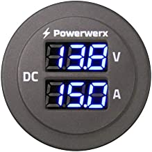 Valley Enterprises Panel Mount Combo Amp & Volt Meter with Blue Display for 6-30 Volt DC Power Systems