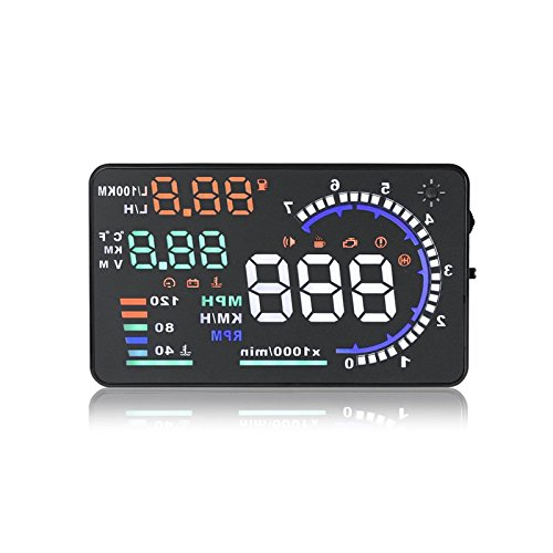 """A8 Car Head Up Display 5.5"""",OBD II Car HUD Windshield with Speed Fatigue Warning RPM MPH Fuel Consumption Multiple-Color Bright"""