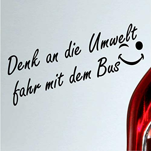 Autoaufkleber Denk an die Umwelt fahr mit dem Bus Spruch sticker (Silber)