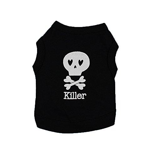 Camiseta para Perro y Gato, Dragon868 Killer Cráneo Impresión de Chaleco Ropa Perro Pequeño, Ligera de Chaleco Camisetas Perros Ropa Disfraz para Yorkshire Chihuahua, Primavera y Verano, XS-L