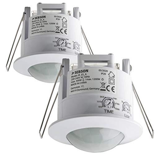 SEBSON 2X Detector de movimiento para interiores, montaje empotrado, montaje en techo, programable, sensor de infrarrojos, alcance 6 m / 360 °, LED adecuado, máx. 1200W / 300W