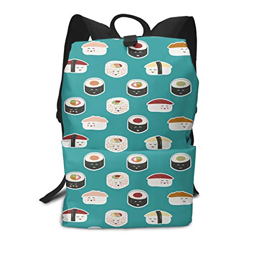 Liumong Japanese Best Sushi Rice Tori Roller Cute Book Bag Holder Travel Back Backpack School Travel Hiking Small Mini Gym Teen Little Girls Youth Kid Women Men Printed Patterned Themed Bookbags