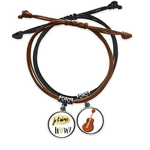 DIYthinker Je t'aime, Je t'aime Citer Style Armband, Kordel, Armband, Leder, Gitarre