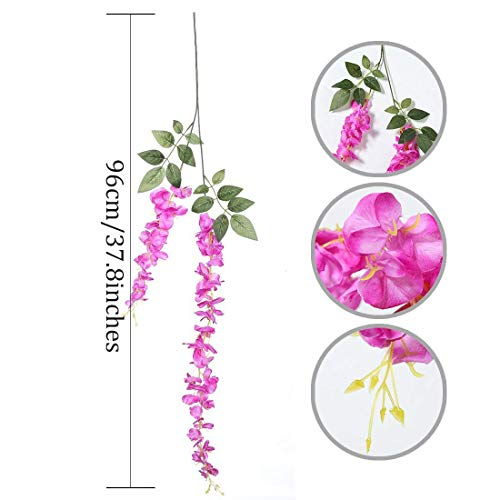 Artificial Silk Wisteria Vine Rattan Garland Fake Hanging Flower Wedding Party Home Garden Outdoor Ceremony Floral Decor,3.18 Feet, 6 Pieces (Rose Red-2) Silk Flower Arrangements