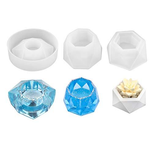 Hileyu Moldes de Resina de Silicona de 3 Piezas, moldes poligonales para macetas, corazón,...