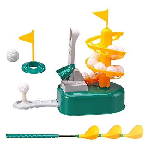 FXQIN Juego de Juguetes de Golf para Césped para Niños al Aire Libre, Equipado con 15 Pelotas de Golf / 2 Cabezas de Palo / 1 Palo/Cuerpo de Soporte de Golf, Juguetes Educativos para Juegos de Golf
