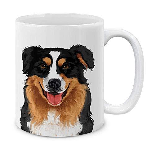 N\A Cute Black Aussie Pastor Australiano Retrato Completo Taza de café de cerámica Taza de té,