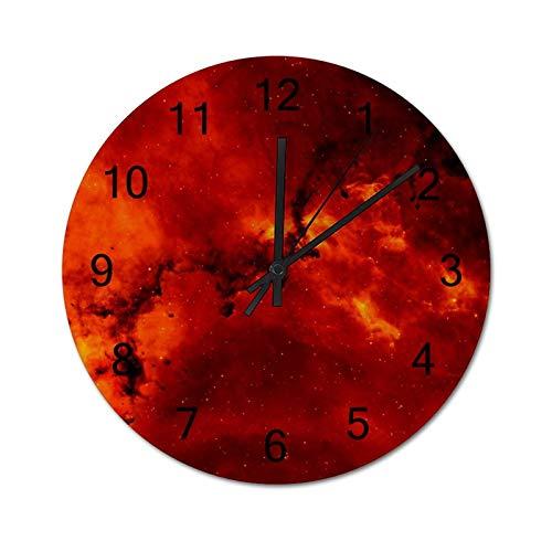happygoluck1y Reloj de pared moderno de madera con luz solar roja y naranja para sala de estar, dormitorio, silencioso, rústico, casa de granja, 30,48 cm para paredes