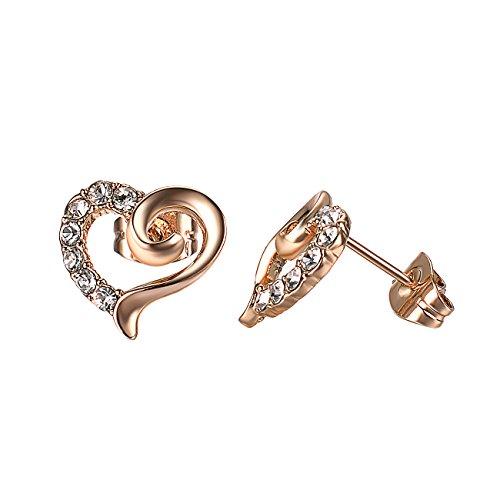 Vogem Rose Gold Heart Stud Earring for Women Girls CZ Crystal Ear Studs with Gift Box