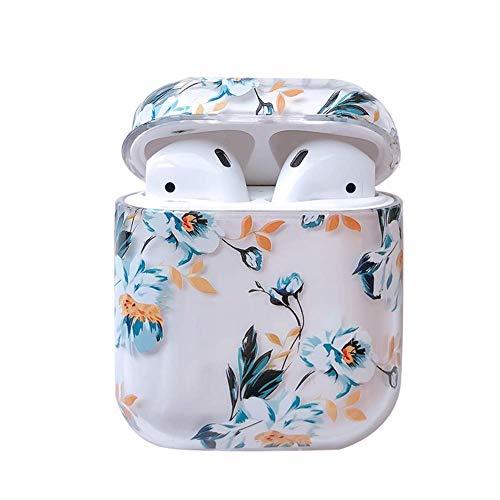 Qinlee Transparente Kopfhörertasche case für AirPods, Flamingo Schutzhülle Stoßfeste mit Fruchtmuster Zitrone Pfirsiche Erdbeere Gardenia unterstützt das kabellose Laden (Blue Blumen)