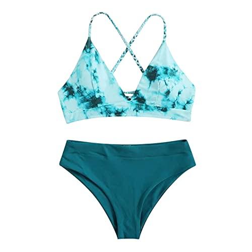 Kurzer Badeanzug für Damen Shell Bikini Top Mastektomie BadeanzüGe Tankini SüßE Einfache Einteilige BadeanzüGe für Frauen Dicke Oberschenkel Retten Leben Badeanzug Plus GrößE 4T Bikini (Grün 2,S)
