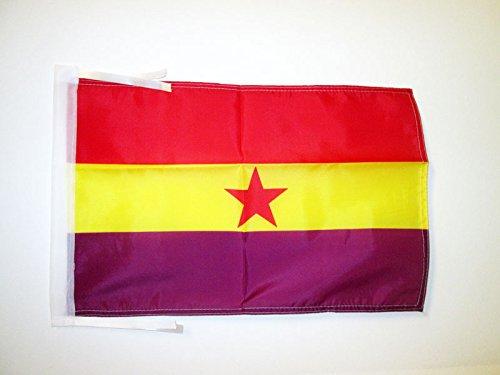 AZ FLAG Bandera ESPAÑA Republicana Estrella ROJA 45x30cm - BANDERINA DE LA Republica ESPAÑOLA 30 x 45 cm cordeles
