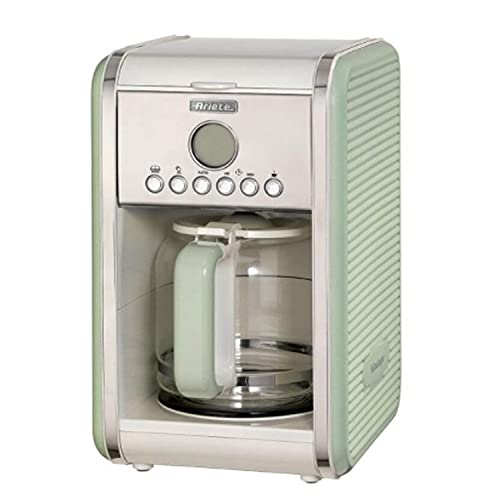 Ariete Vintage Kitchen Countertop 12 Cup Automatic Programmable Brew Timer Coffee Maker Machine, Green